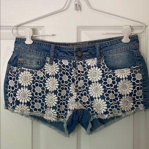 Denim Shorts With Paisley Crotchet Detail